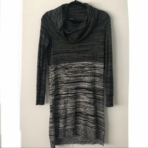 Express Cowl Neck Sweater Dress Gray Black
